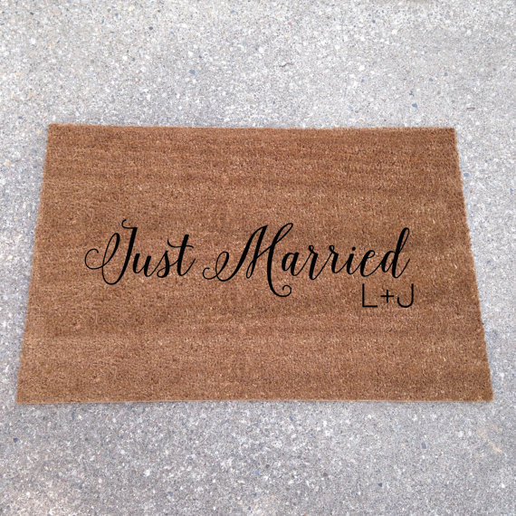 just married - custom doormats etsy collection from LoRustique | https://emmalinebride.com/gifts/custom-doormats-etsy/
