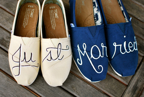 TOMS Painted Wedding Shoes featuring 'Just' and 'Married'
