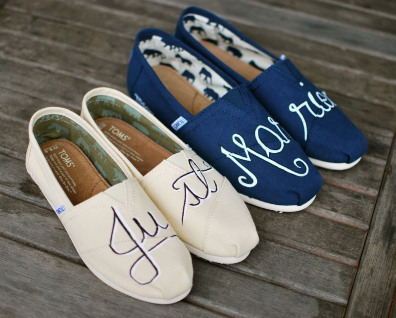 These handpainted TOMS are perfect for the newlyweds. | via 31 Best Handmade Wedding Shoes http://emmalinebride.com/bride/handmade-wedding-shoes/