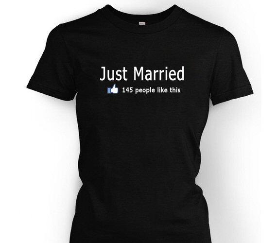 5 Ways to Embrace Social Media at Weddings - just married facebook like tshirt by regal rhinestones
