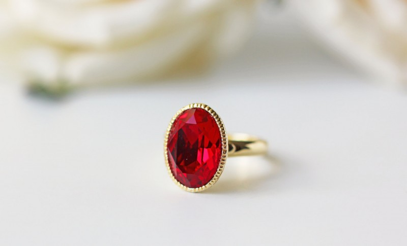 red and gold ring by kaorikaori | via emmalinebride.com