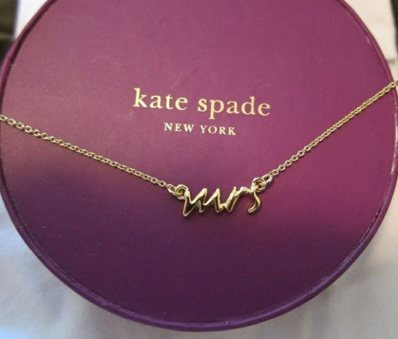 kate spade gold mrs necklace via Gift for Bride Morning of Wedding