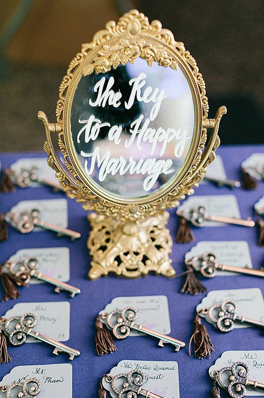key to happy marriage place cards