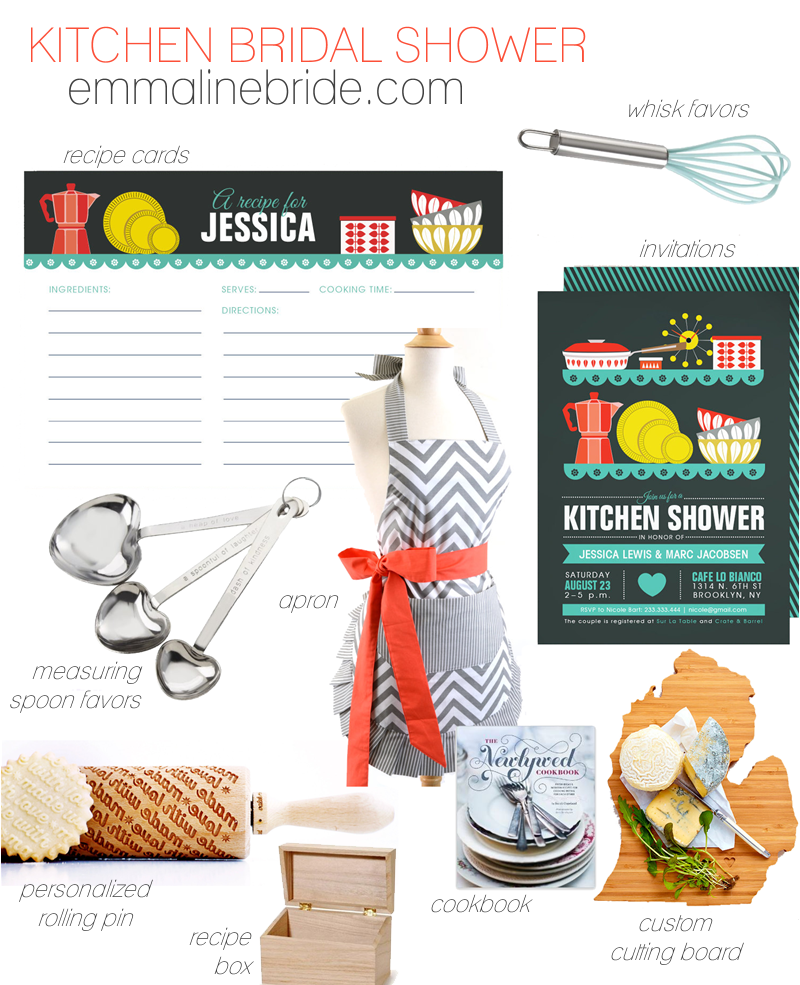 kitchen bridal shower invitations + ideas via https://emmalinebride.com/bridal-shower/kitchen-bridal-shower-invitations/