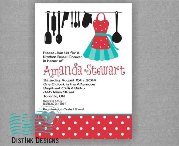 kitchen bridal shower theme invitations