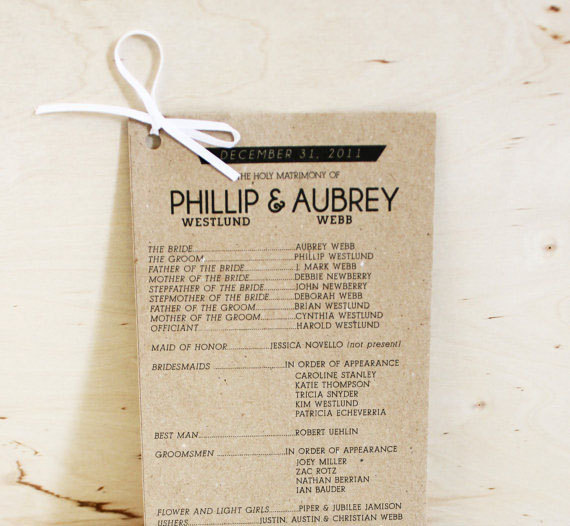 kraft paper wedding programs by yes, dear studio