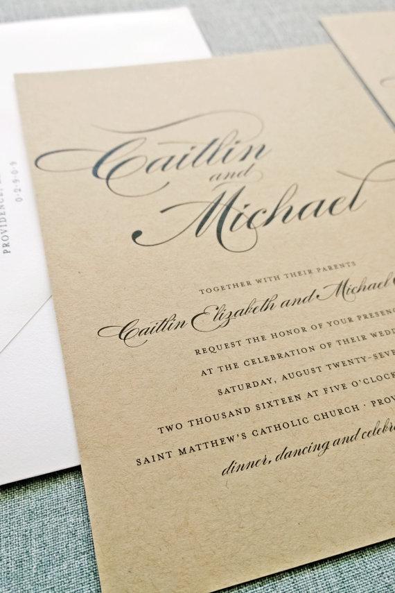 kraft wedding invitation - wedding invitation credit + robe giveaway