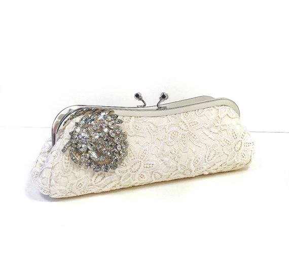 bridal clutch bags - lace clutch with brooch embellishment