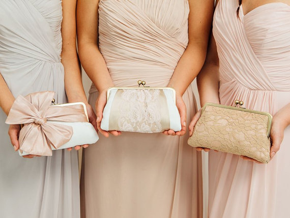blush classic bow clutch - bridesmaid clutches