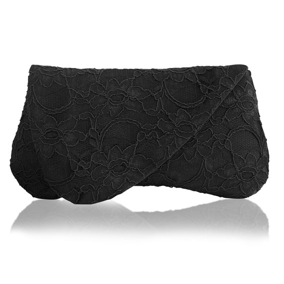 lace foldover clutch in black