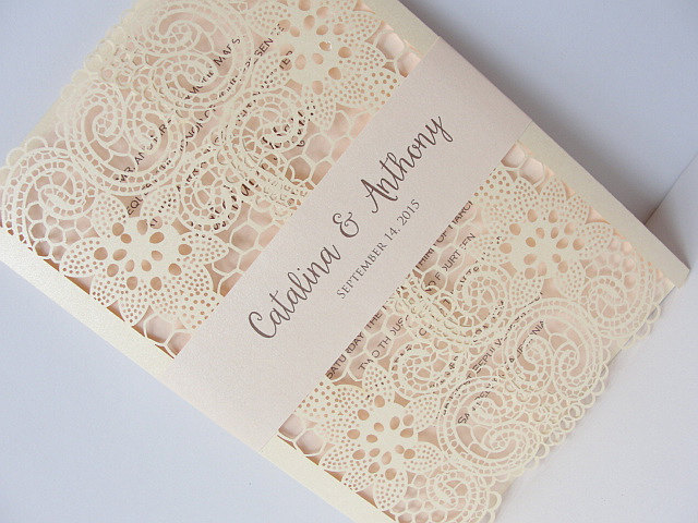 Laser Cut Wedding Invitations | https://emmalinebride.com/invites/laser-cut-invitations/