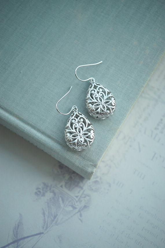 lace pear teardrop earrings