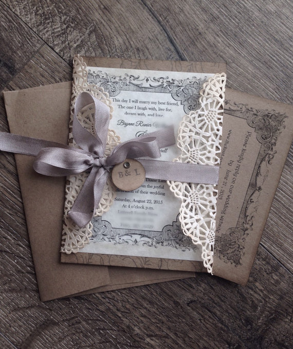 lace wedding invitations by ScrappySeahorse - lace accessories weddings