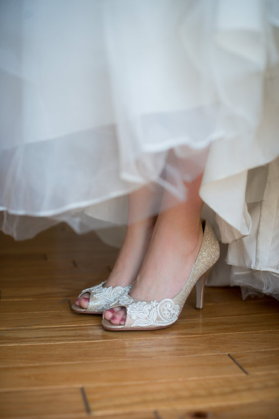 Lace Wedding Shoes | Becca & Louise via EmmalineBride.com