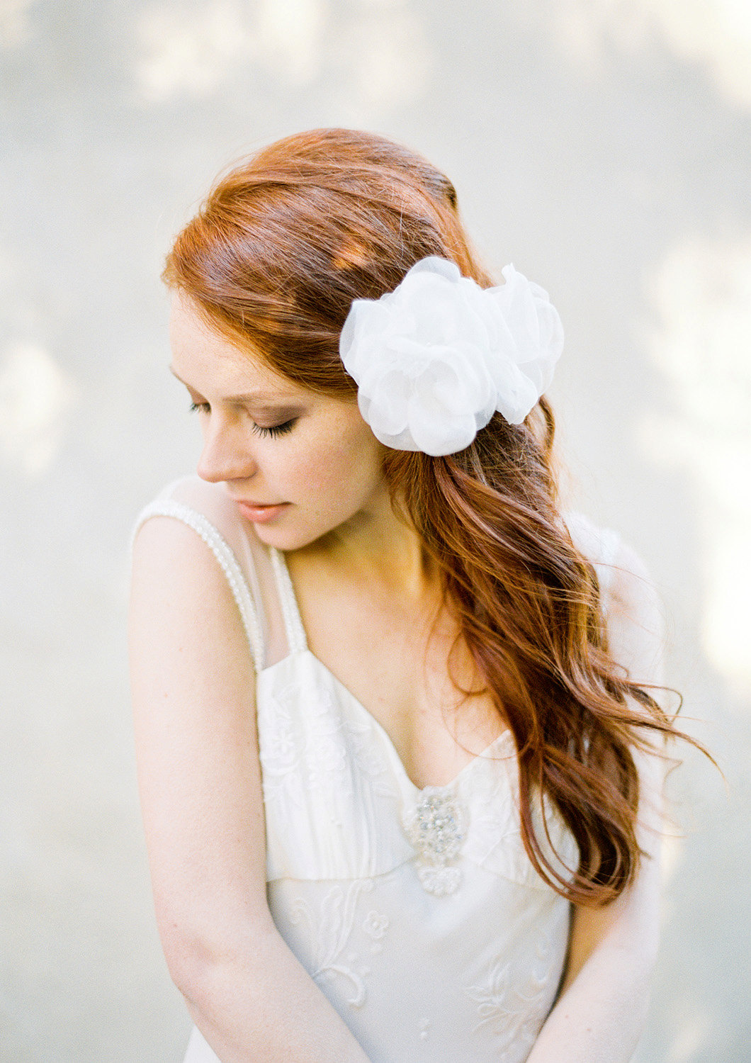 large bridal hair flower