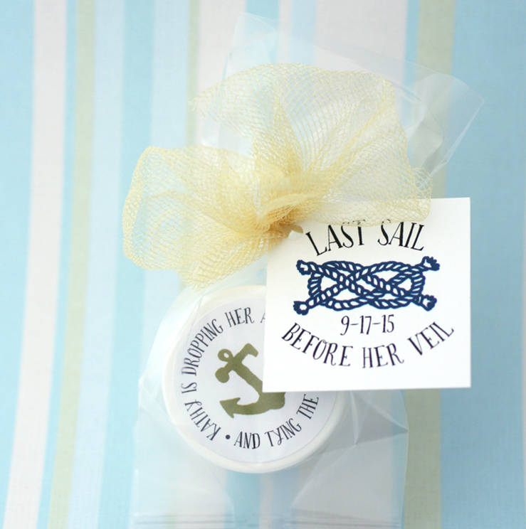 last sail before the veil | lip balm shower favor by The Favor Stylist | http://emmalinebride.com/favors/lip-balm-shower-favor/