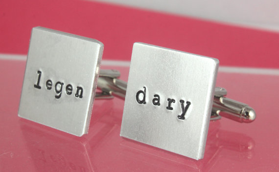 legen dary cufflinks by stampin off the path | Custom Cufflinks Groomsmen Gifts | via EmmalineBride.com