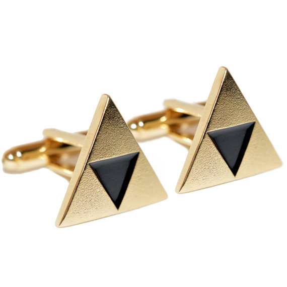 legend of zelda triforce | Custom Cufflinks Groomsmen Gifts | via EmmalineBride.com