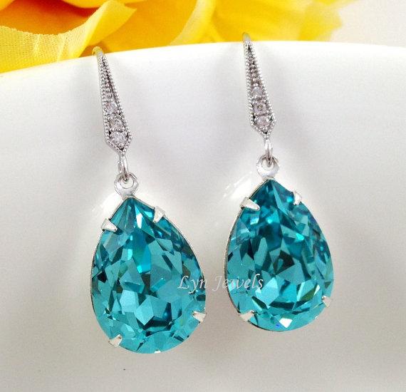 light turquoise teardrop earrings