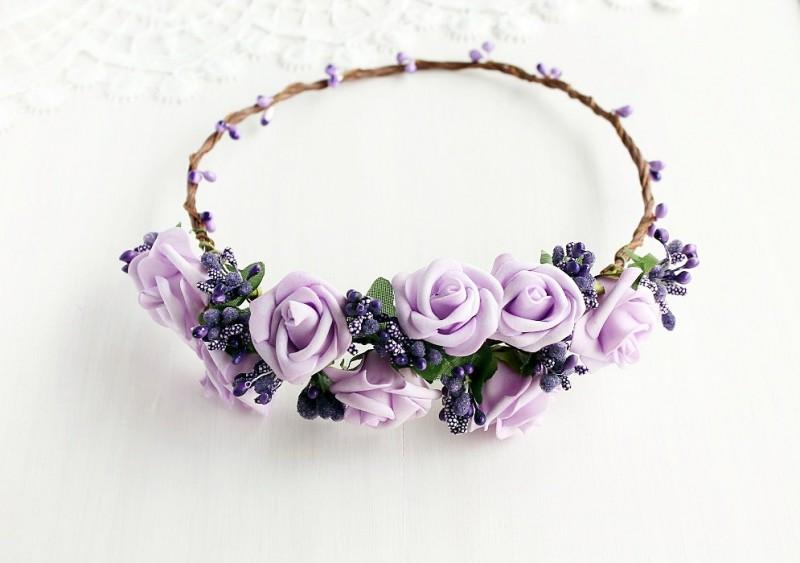 Lilac Rose | Flower Girl Hair Crowns | https://emmalinebride.com/flower-girl/hair-crowns/