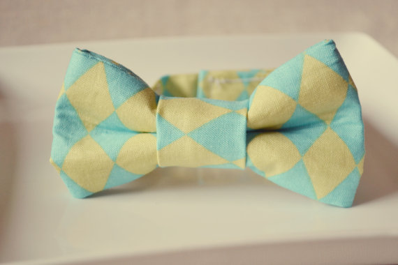 lime green blue bow tie