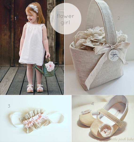 linen and lace wedding flower girl