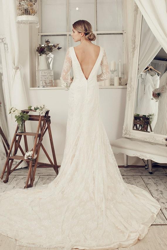 long sleeve deep v back etsy wedding dresses with train