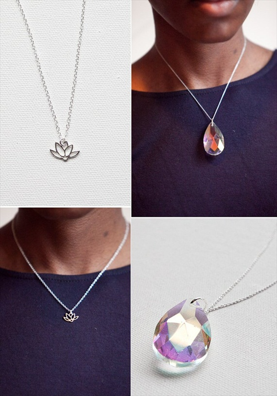 lotus flower layering necklace via How to Layer Necklaces