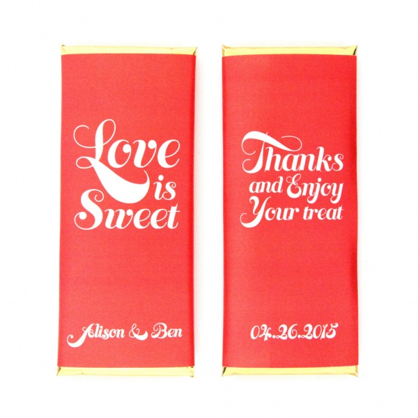 personalized candy wrappers for wedding favors | red love is sweet