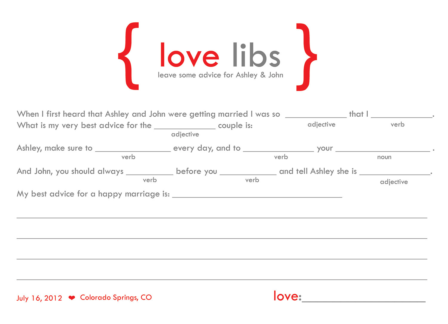 love libs for guest book