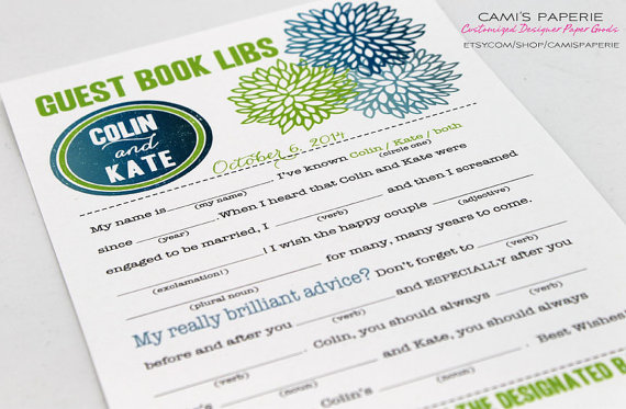7 Guest Book Mistakes to Avoid via Emmaline Bride - Tips for your Guest Book! (guest book mad lib cards: cami's paperie)