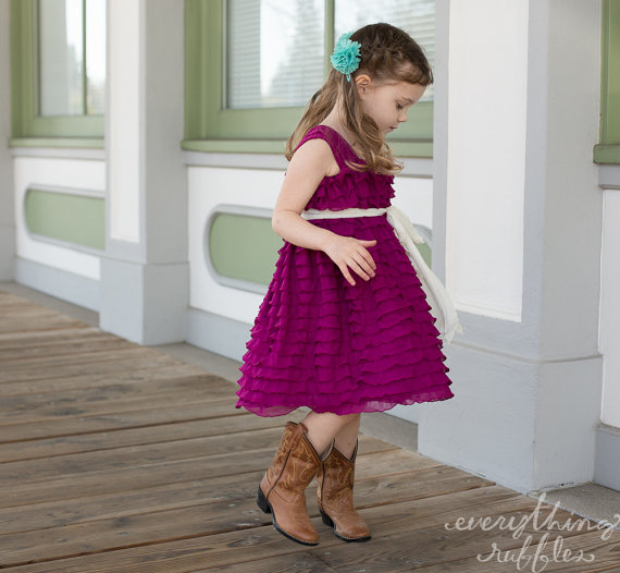 magenta ruffle flower girl dress