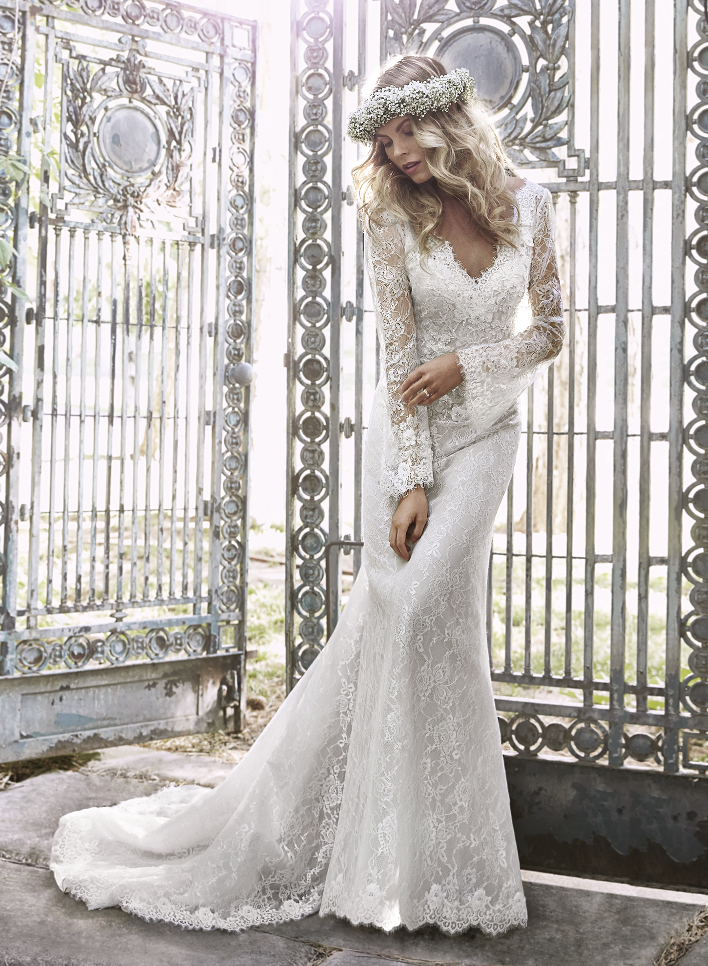 DAHLIA | Sheath Wedding Dresses by Maggie Sottero | via EmmalineBride.com