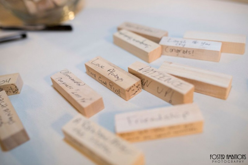mansion on main street wedding - jenga guest book alternative