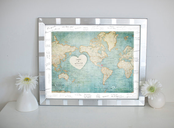 wedding gift ideas from a to z - map print by inspired art prints