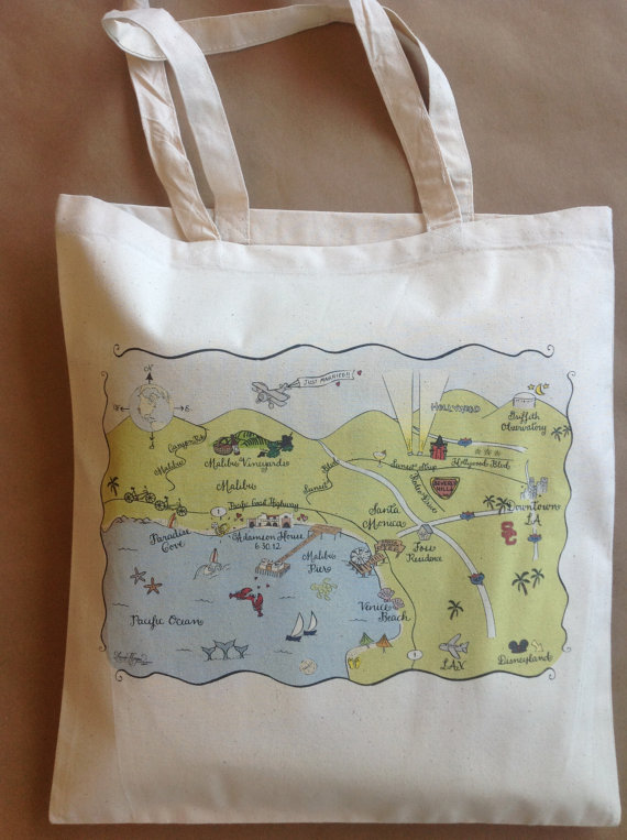 map tote bag (by Laura Hooper Calligraphy via 3 New Wedding Finds on Emmaline Bride)