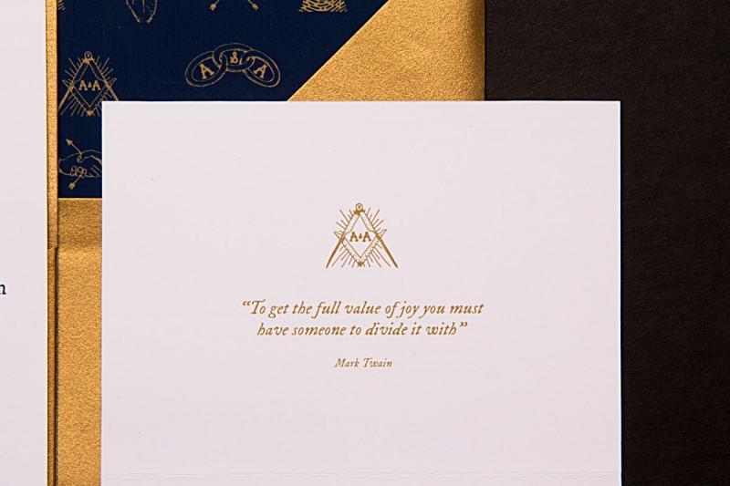 mark twain quote | hand drawn secret society wedding invitation | by Sparkvites