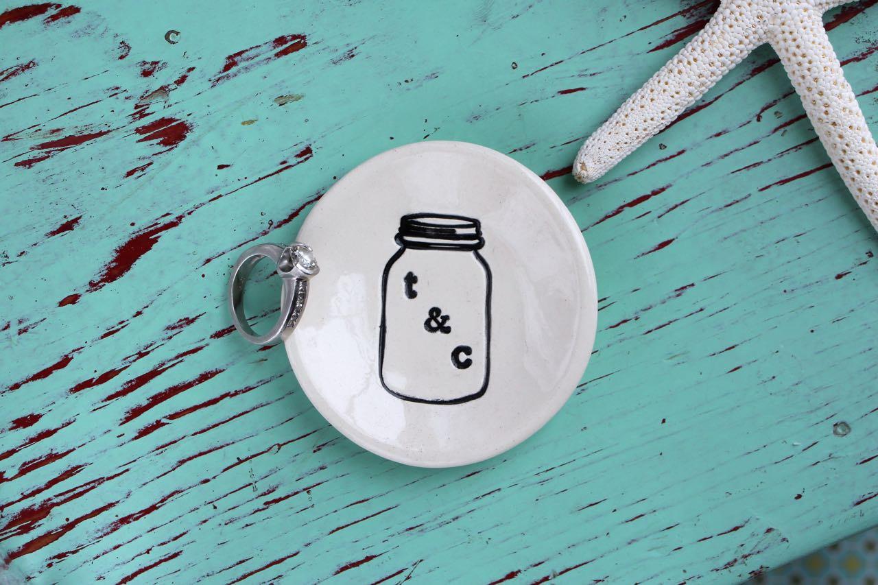 mason jar jewelry dish by zinniadesignstc