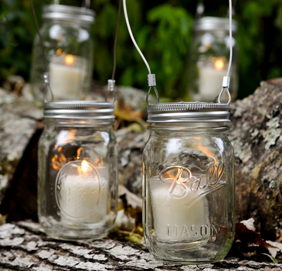 mason jar ideas - mason jar lantern planter via Sweet Tea Clothing Co