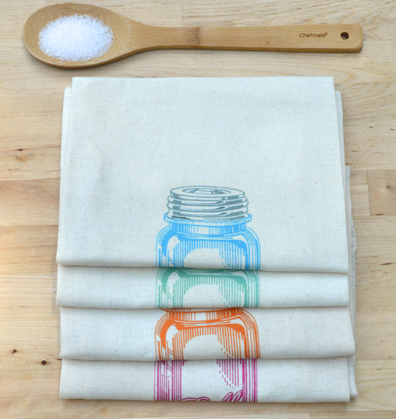 mason jar tea towel - tea towels for wedding showers