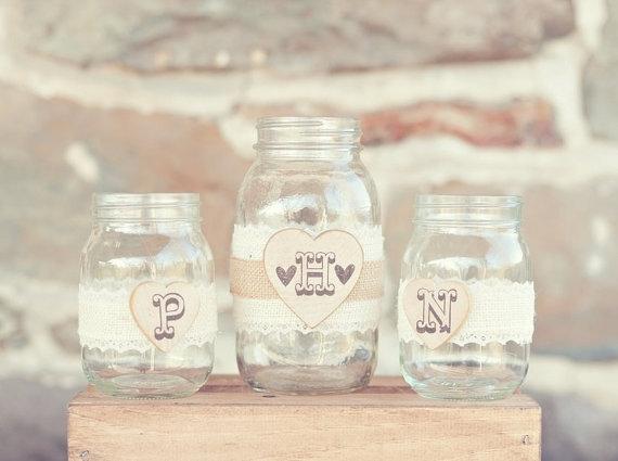 8 Fresh Rustic Wedding Decor Ideas - mason jar unity set (by PNZ Designs, photo: Melania Marta Photography)