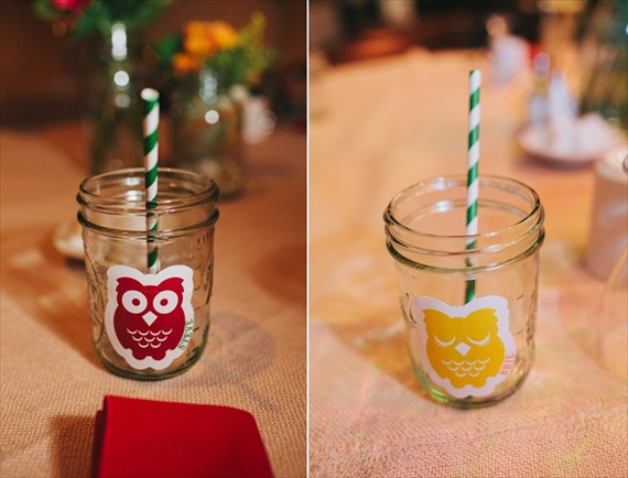 DIY Fall Wedding - Photo by Noelle Ann Photography - #mason #jar #drinking #glasses #striped #straw
