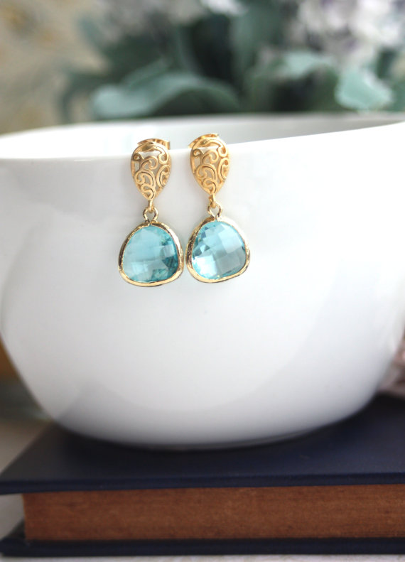 Wedding Jewelry for Mom - matte gold paisley earrings with aquamarine (by marolsha)