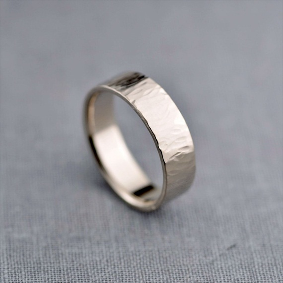 Recycled Wedding Rings: mens textured palladium white gold band