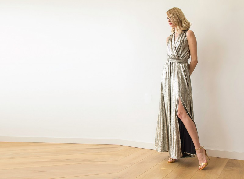 Metallic Bridesmaid Maxi Dress | via Bridesmaid Maxi Dresses https://emmalinebride.com/bridesmaids/bridesmaid-maxi-dresses/