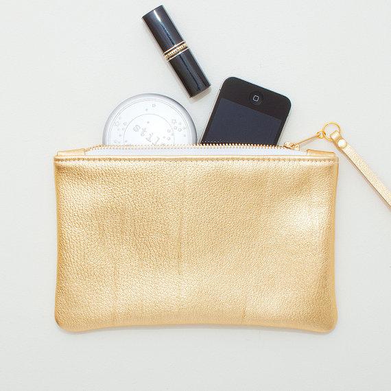 metallic wedding clutches - gold leather zipper wristlet