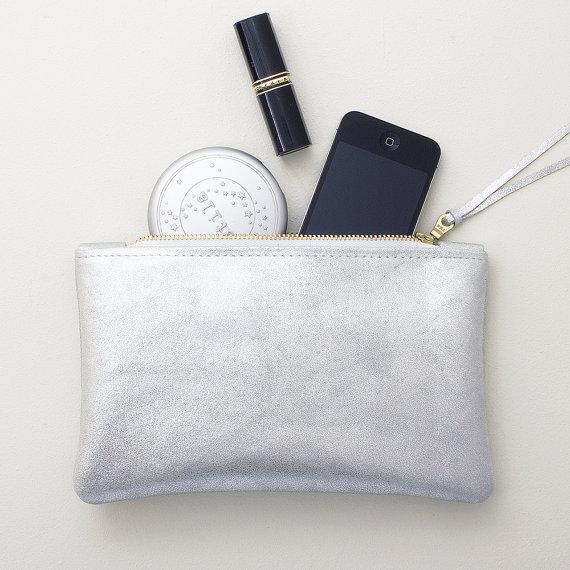 metallic wedding clutches - metallic silver clutch