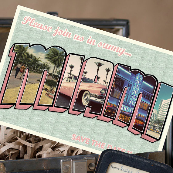 miami | vintage save the date postcards