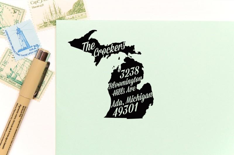 michigan return address stamp | return address stamps etsy