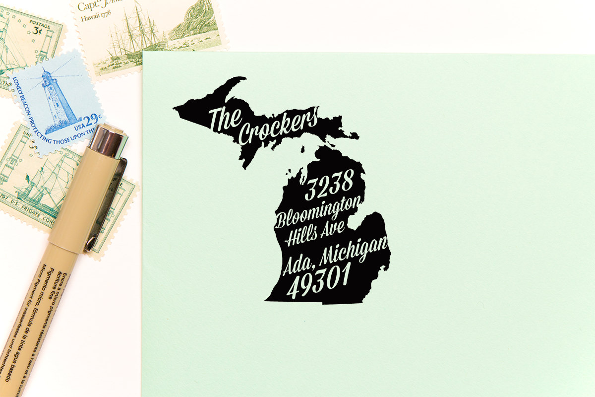 michigan return address stamps etsy